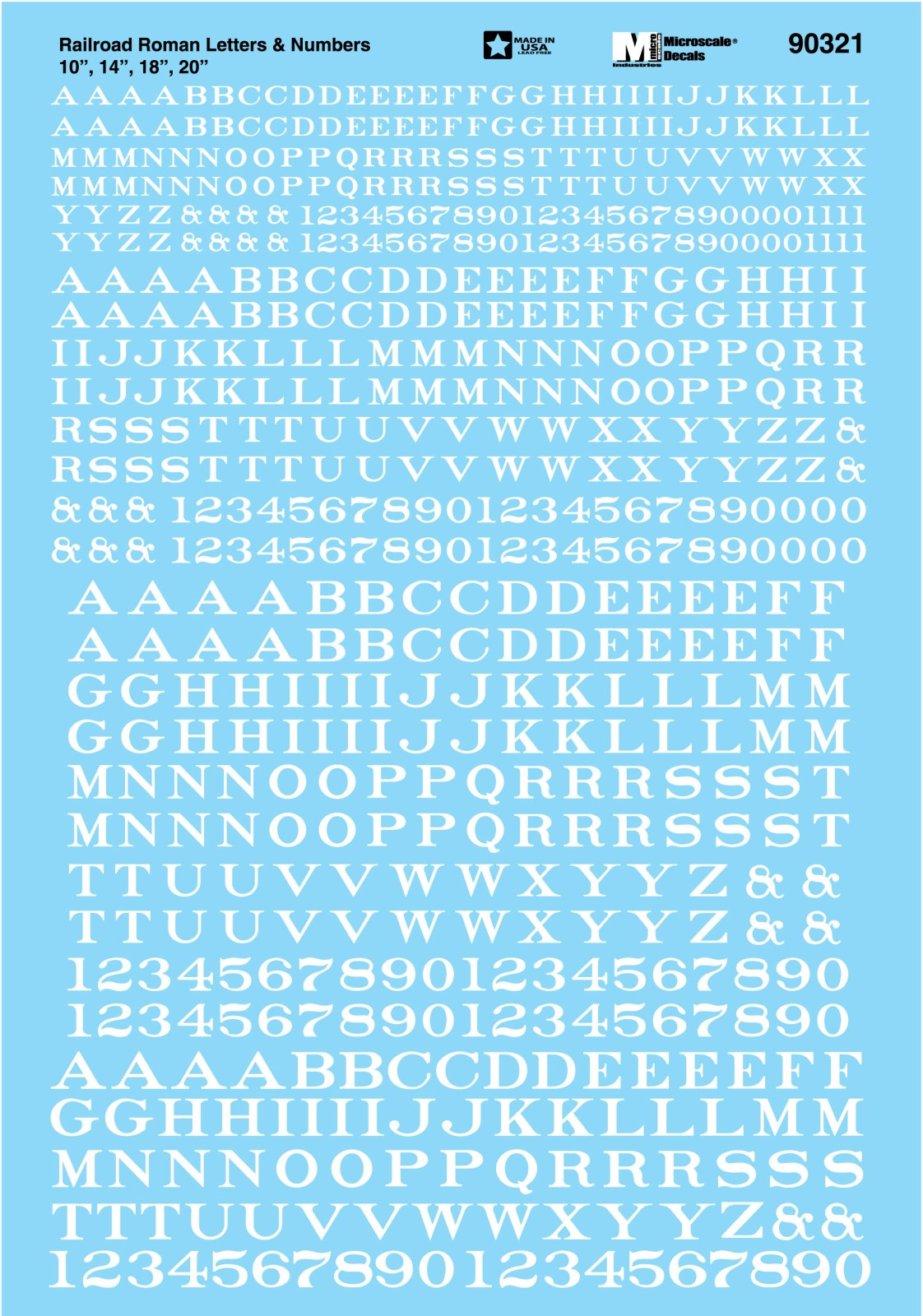 Microscale Alphabet Decal Set -- Railroad Roman Letters & Numbers 10, 14,  18, 20